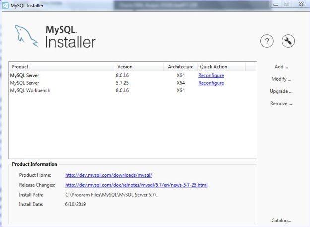 1 MYSQL installer
