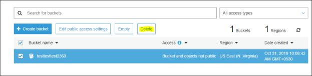 Delete bucket