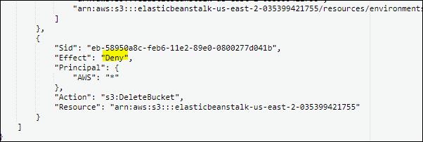 Deny Elastic bean S3 bucket