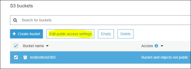 Edit public access setting
