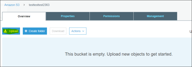 open and upload file in bucket