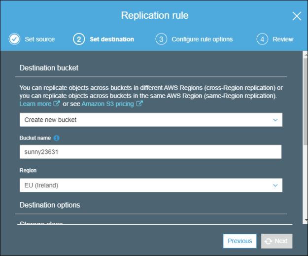 Destination replication rule