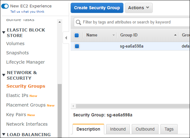 Security Group in EC2 dashboard