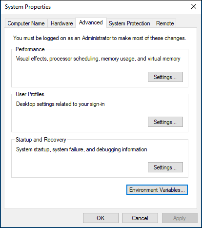 Environment Variables Window