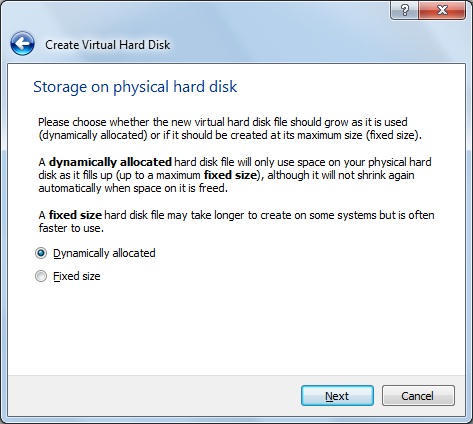 choose dynamic or fixed allocated disk