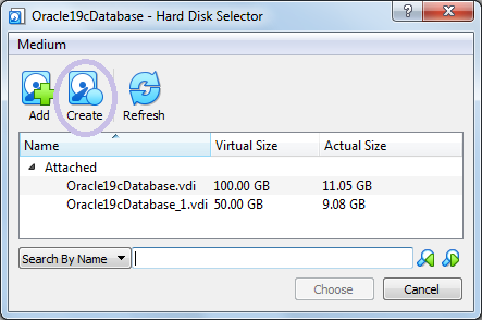 Create button to add harddisk vdi