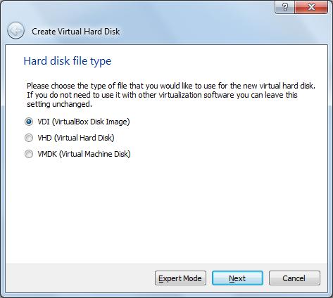Create VDI disk image