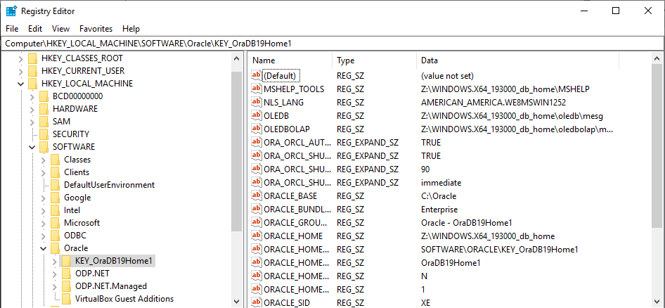Delete Oracle Home Entry from registry